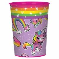 Amscan 307501 16 oz Rainbow Butterfly Unicorn Kitty Plastic Favor Cup