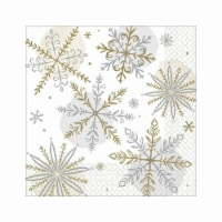 Amscan 522174 Christmas Shining Snow Dinner Napkins - 16 Piece per Pack, Pack of 3 - 3