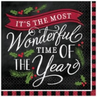 Amscan 305766 Most Wonderful Time of Year Lunch Napkin, Pack of 16