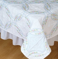 Jack Dempsey Stamped White Quilt Blocks 18 X18  6/Pkg-Interlocking Wedding Rings - 1