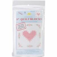 Jack Dempsey Stamped White Quilt Blocks 9 X9  12/Pkg-Chicken Scratch Hearts - 12/Pkg