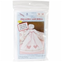 Jack Dempsey Stamped White Pillowcase Doll Kit-Chicken Scratch Hearts - 1