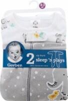 Gerber Zip-Front Sleep n' Play Onesies - 2 Pack - Elephants - 0-4M