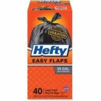 """Easy Flaps Trash Bags, 30 gal, 1.05 mil, 30"""" x 33"""", Black, 40/Box E27744"""