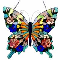 CH1P545BA24-GPN CHLOE Lighting Tiffany-glass Butterfly Window Panel 22.5x24