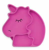 Bumkins Silicone Grip Unicorn Shapped Dish - Pink