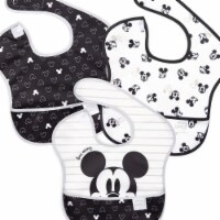 Mickey Mouse 798758 Mickey Mouse Black & White Bib & Burp Cloths Set - Pack of 3 - 1