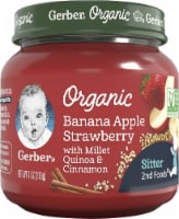 Gerber Organic Banana Apple Strawberry with Millet Quinoa & Cinnamon Stage 2 Baby Food