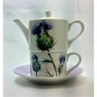 Roy Kirkham ER30143 90 mm Thistles Tea for One Teapot with Tea Cup & Saucer, Multi Color