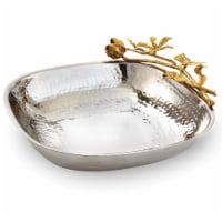 Leeber 70066 10.5 x 2.75 in. Butterfly Large Square Serving Bowl, Silver & Gold