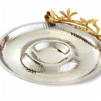 Leeber 70077 12.5 in. Butterfly Chip & Dip Serving Tray, Silver & Gold - 1