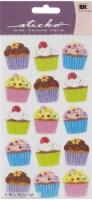 EK Success Sticko Bright Vellum Cupcake Sticker Sheet - 15 pc