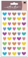 Sticko Colorful Patterned Heart Sticker Sheet