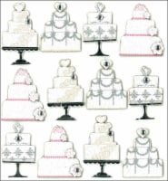 Jolee's Cabochon Dimensional Repeat Stickers-Wedding Cakes - 1