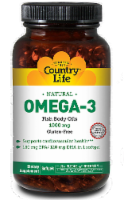 Country Life Omega-3 Fish Body Oils 1000 mg Softgels
