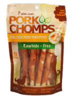 Pork Chomps Real Chicken Wrapped Rawhide Free Dog Treats - 12 ct