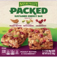 Nature Valley Packed Peanut Butter and Cranberry Sustained Energy Bars - 4 ct / 1.7 oz