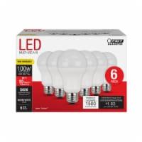 Feit Electric A19 E26 (Medium) LED Bulb Warm White 100 Watt Equivalence 6 pk - Case Of: 1; - Count of: 1
