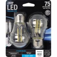 Feit Electric A15 E26 (Medium) Filament LED Bulb Daylight 75 Watt Equivalence 2 pk - Case Of: - Count of: 1