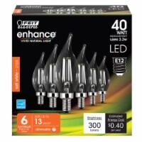 Feit Electric Enhance CA10 E12 (Candelabra) Filament LED Bulb Soft White 40 Watt Equivalence - Count of: 1