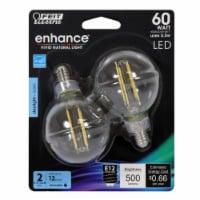 Feit Electric Enhance G16.5 E12 (Candelabra) Filament LED Bulb Daylight 60 Watt Equivalence 2 - Count of: 1