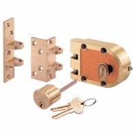 Prime-Line Segal Brushed Brass Solid Bronze Alloy Deadbolt - Case Of: 1; - Count of: 1