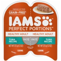 IAMS Perfect Portions Grain Free Pate Tuna Recipe Adult Wet Cat Food Twin Pack