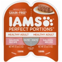 IAMS Perfect Portions Grain Free Pate Salmon Recipe Adult Wet Cat Food Twin Pack