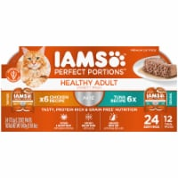 IAMS Perfect Portions Grain Free Chicken and Tuna Pate Twin Packs Adult Wet Cat Food Variety Pack