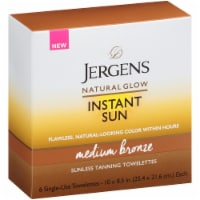 Jergens Natural Glow Instant Sun Medium Bronze Suness Tanning Towelettes