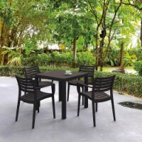 Compamia Artemis 5 Piece Square Resin Patio Dining Set in Brown