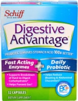 Schiff Digestive Advantage Fast Acting Enzymes & Daily Probiotic Capsules - 32 ct