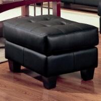 Coaster Samuel Black Contemporary Leather Ottoman - 1
