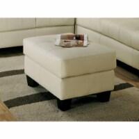 Coaster Samuel Faux Leather Tufted Ottoman in Cream - 1