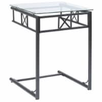 Black Metal Snack Table With A Tempered Glass Top - 1