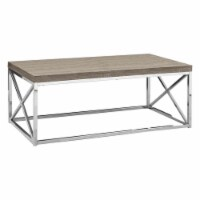 Monarch Coffee Table in Dark Taupe and Chrome - 1
