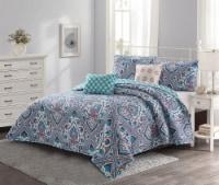 Harper Lane Blue & Coral Merriam 5 Piece Quilt Set - King
