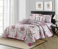 Harper Lane Beige & Pink Vintage Paris 5 Piece Quilt Set - Full / Queen