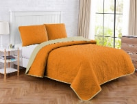 Harper Lane Solid Medallion Orange Reverse To Tan 2 Piece Quilt Set - 2 pc / Twin