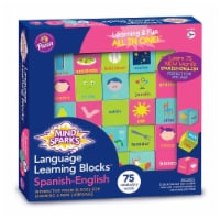 Mind Sparks  Language Learning Blocks with 1.5 in. Blocks & 25 Blocks - Spanish