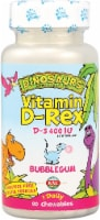 KAL Dinosaurs Vitamin D-Rex Bubble Gum Chewables 400IU 90 Count