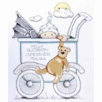 Tobin 435105 Baby Buggy Boy Birth Record Counted Cross Stitch Kit-13 in. x 15 in. 14 Count
