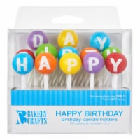 Bakery Crafts Happy Birthday Candle Holders & White Birthday Candles