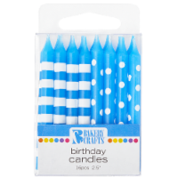 Bakery Crafts Blue with Stripes & Polka Dots Birthday Candles - 16 ct