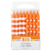 Bakery Crafts Orange with Stripes & Polka Dots Birthday Candles