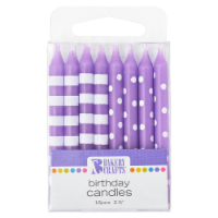 Bakery Crafts Purple with Stripes & Polka Dots Birthday Candles