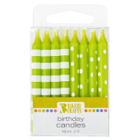 Bakery Crafts Lime Green with Stripes & Polka Dots Birthday Candles