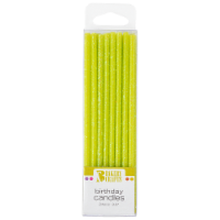 Bakery Crafts Lime Green Slim Glitter Birthday Candles