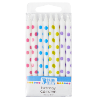 Bakery Crafts White with Polka Dots Birthday Candles