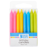 Bakery Crafts Assorted Colors Smooth Birthday Candles - 16 ct